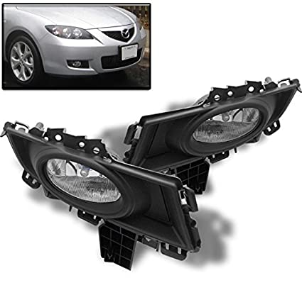 ZMAUTOPARTS Mazda 3 Mazda3 Sedan 4Dr Bumper Fog Light Lamp Kit Chrome  W/Bulb+