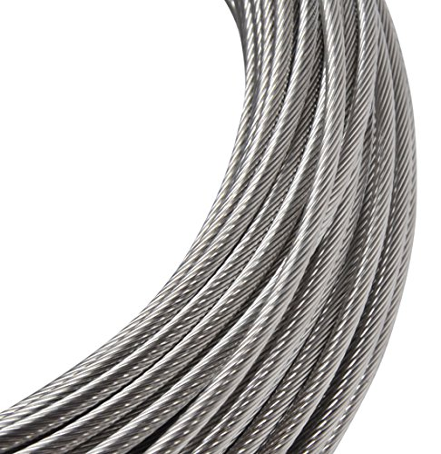 Yeexue Stainless Steel Aircraft Wire Rope Cable For Railing, Decking, DIY Balustrade, 1/8″, 316 Grade, 1×19, 100ft