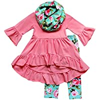 So Sydney Toddler Girls 3 Pc Hi Lo Ruffle Flare Tunic Top Outfit, Infinity Scarf