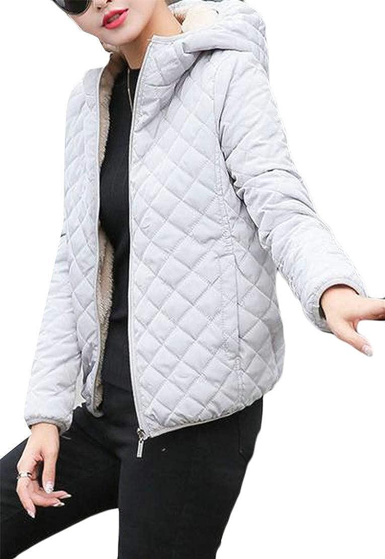 Pandapang Women Simple Hoodid Faux Fur Lined Zip Padded Plaid Jacket Parka Coat