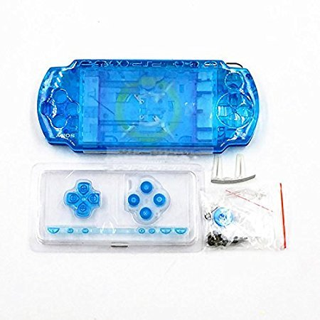 Psp Faceplates Buttons (NEW Replacement Sony PSP 2000 Console Full Housing Shell Cover With Button Set -Clear Blue.)