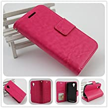 For BLU Dash C Music D380U / D380L and BLU Dash Music Jr D390 PERFECT FIT Luxury Leather Wallet Case with ID Showing Window (Hot Pink)