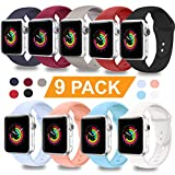 DOBSTFY Compatible for iWatch Sport Band 38mm 42mm, Soft Silicone Replacement Bands Strap Sport Band Compatible for Series 4 3 2 1 Nike+ Edition 2 1 Nike+ Edition, S/M M/L, 9PACK, 38mm 40mm Large