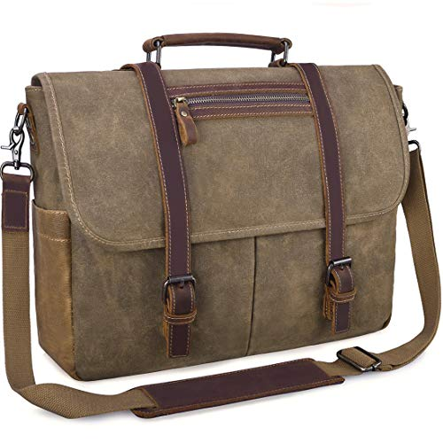 Mens Messenger Bag 15.6 Inch Waterproof Vintage Waxed Canvas Messenger Bag Computer Laptop Briefcase Satchel Shoulder Bag (Khaki)