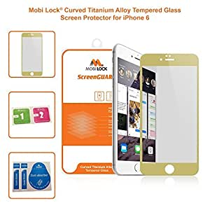 Apple iPhone 6 Gold Edge Curved Titanium Alloy Ultra Thin (0.26 mm) Tempered Glass Screen Protector (Pack of 1) - by Mobi Lock¨