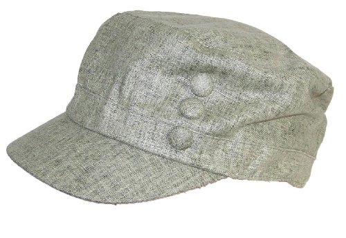 Tropic Hats Women's Tweed Military Cadet 3 Button Hat W/Floral Lining (One Size) - Olive