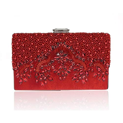 Crossbody Beaded Vintage Clutch Red Purse Clasp EROUGE Bag Clip Evening Women's Square p8Tn6SqE