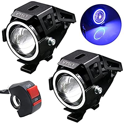 LYLLA Motorcycle LED Headlight CREE U7 with Angel Eyes Ring and Switch