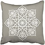 Throw Pillow Cover Square 18x18 Inches Moroccan Abstract Circle Floral Ornamental Mandala Arabian Arabesque Indian Flower Old Rosette Polyester Decor Hidden Zipper Print On Pillowcases