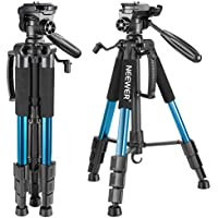 Neewer Portable 56 inches/142 centimeters Aluminum Camera Tripod with 3-Way Swivel Pan Head,Carrying Bag for Canon Nikon Sony DSLR Camera,DV Video Camcorder Load up to 8.8 pounds/4 kilograms(Blue)