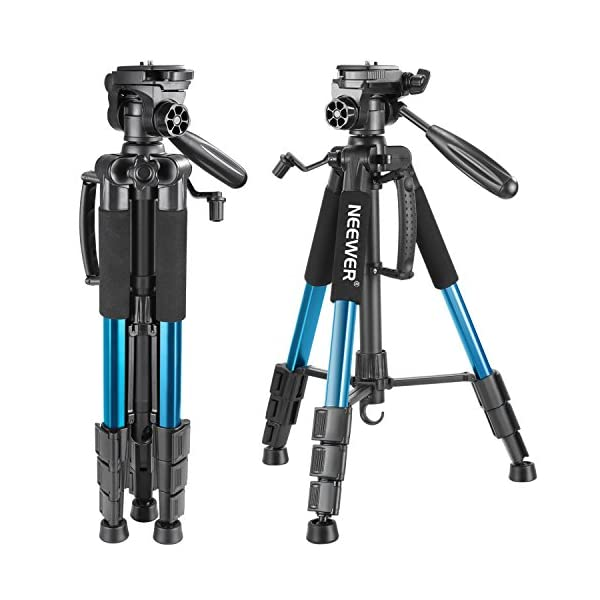 RetinaPix Neewer Portable 56 inches/142 Centimeters Aluminum Camera Tripod with 3-Way Swivel Pan Head,Carrying Bag for Canon Nikon Sony DSLR Camera,DV Video Camcorder Load up to 8.8 pounds/4 kilograms(Blue)