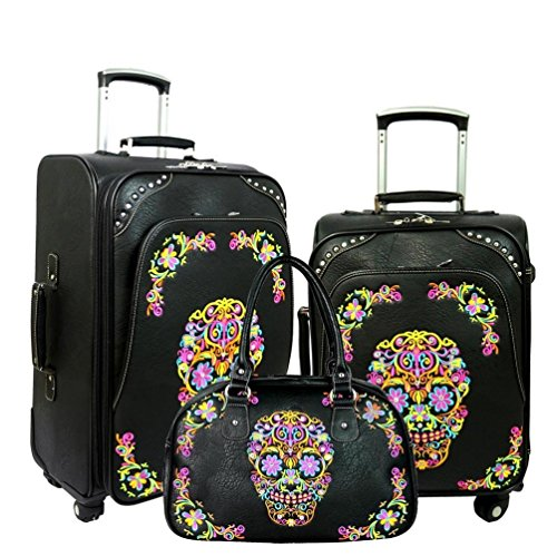 MW326-L1 2 3 Montana West Sugar Skull Collection 3 PC Luggage Set – Black