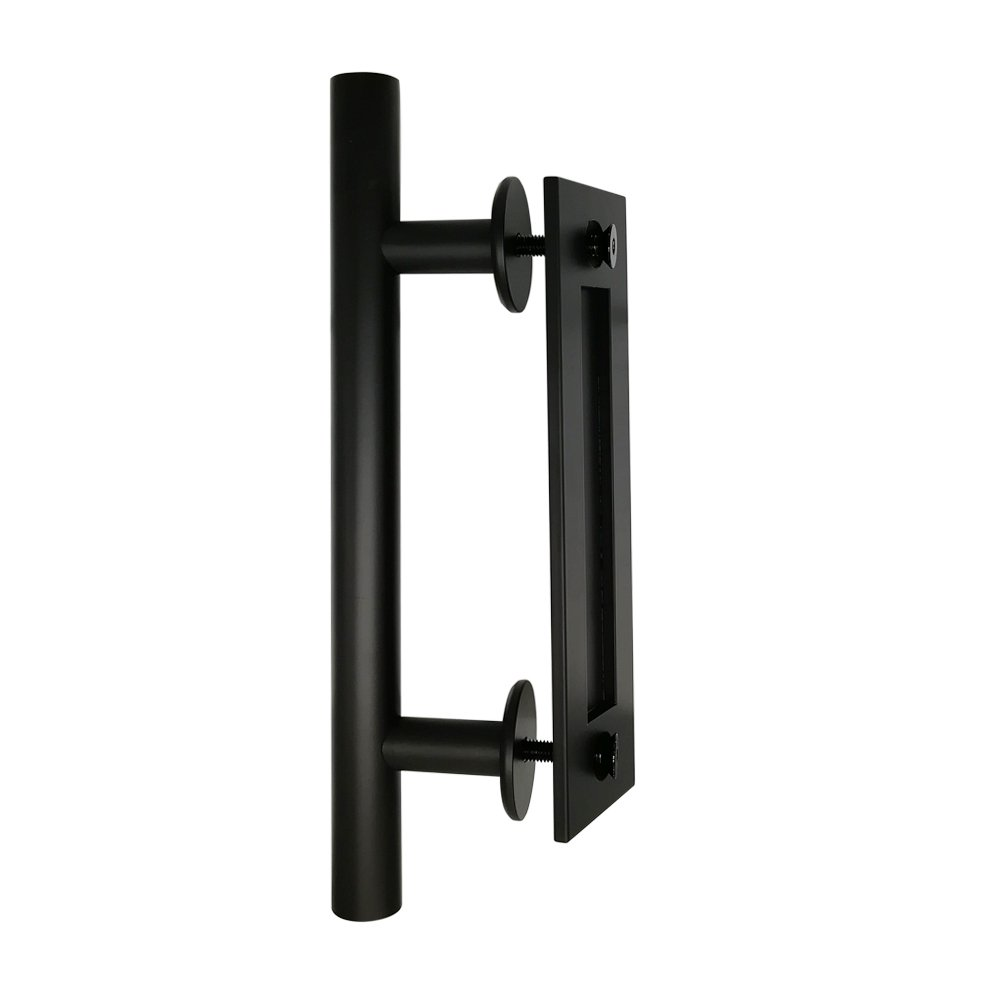12'' Flat Black Bar Pull and Flush Handle Set for Barn Door Hardware