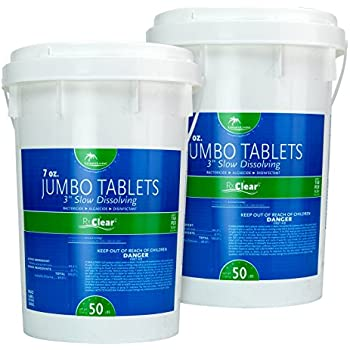 Rx Clear 1 Inch Stabilized Chlorine Tablets One 50 Pound Bucket Use As