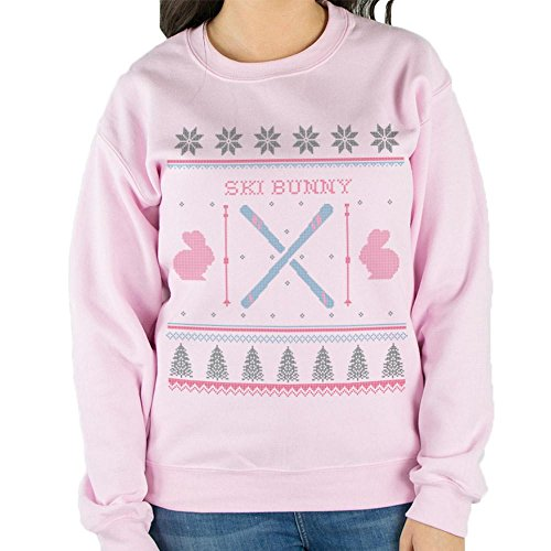 Ski Bunny Sweatshirt Unisex Large (Pink Ski Bunny)