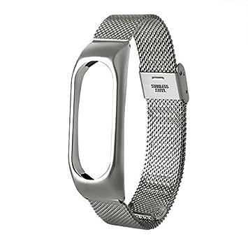Cewaal Mi Band 2 Correa de Reloj de Metal o de Repuesto Compatible con Mi Band 2 Smart Fitness Reloj de Plata