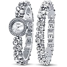 Time100 Women's Watches Bracelet Diamond Round Dial Watch Ladies Fashion Dress Watches Wrist watches for women (Silver)