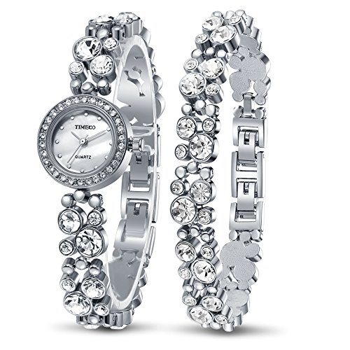 Link Silver Wrist Watch - Time100 Women's Watches Bracelet Diamond Round Dial Watch Ladies Fashion Dress Watches Wrist watches for women