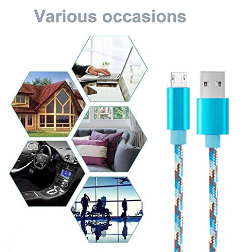 Sogola Micro USB Cable Nylon Braid high velocity 20 USB to Micro USB Charging Cables Android easily Charger Cord for Samsung Galaxy S7 Plus S6Note 5 4HTCLGTablet Blue Camo 3Pack 10ft Cables