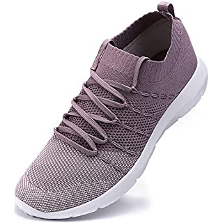 EvinTer Women's Running Shoes Lightweight Comfortable Mesh Sports Shoes Casual Walking Athletic Sneakers, Purple, 7