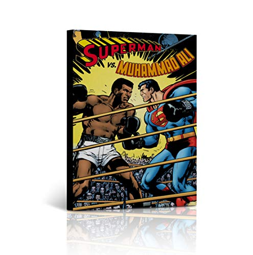 Buy4Wall Superman vs Muhammad Ali Old School Comics Canvas Print Decorative Inspirational Wall Art Home Decor Artwork Stretched - Framed Ready to Hang -%100 Handmade in The USA 28x19