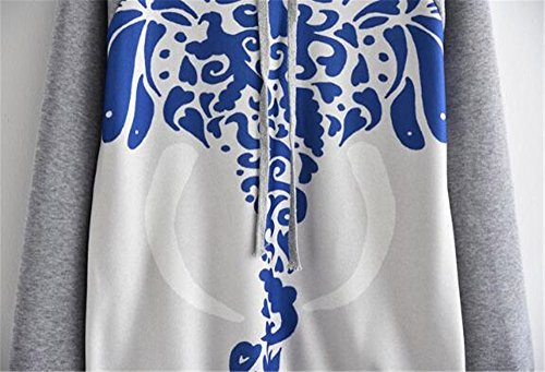Elegante Autunno Cappuccio Giacca Stampate BESTHOO Outwear Donna Cappotto Sweatshirt Felpa Hoodie Inverno Con E Manica Pullover Sportiva Allentato Lunga Grey Moda BqBpfZx