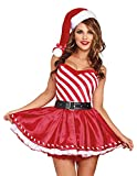 Que Sera Quesera Womens Christmas Costume Candy Cane Sexy Miss Santa Sweetie Dress Outfit