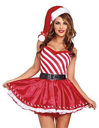Quesera Womens Christmas Costume Candy Cane Sexy Miss Santa Sweetie Dress Outfit