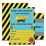 WERNNSAI Construction Dump Truck Party Invitations with Envelopes – 20 Set Double Sided Large Birthday Party Supplies Invitation Cards for Boys