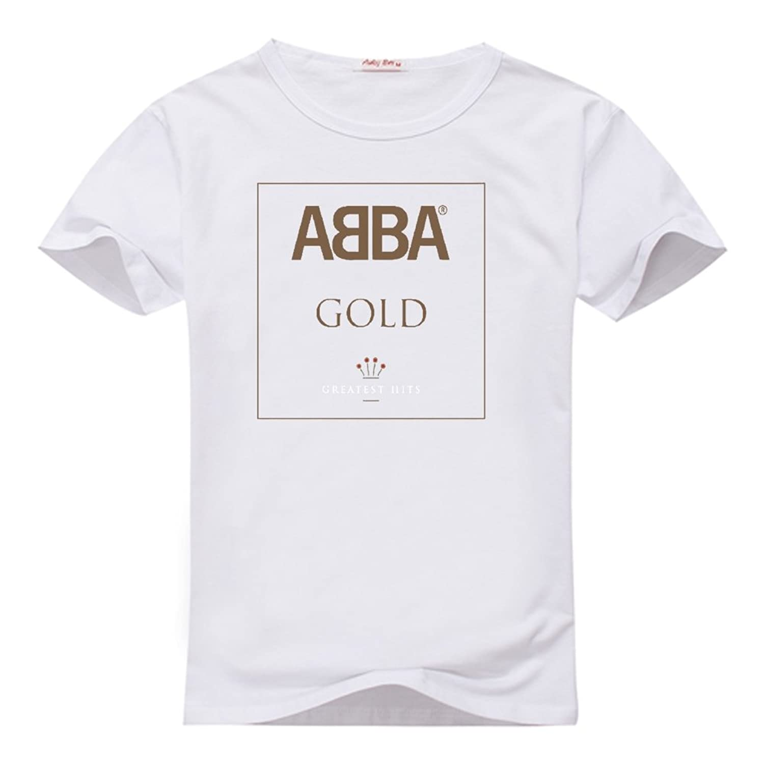 Fancesca Women's Abba Gold Greatest Hits Graphic Logo Printed Crew Neck Tops XL White