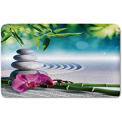 Memory Foam Bath Mat,Spa Decor,Sand Orchid and Massage Stones in Zen Garden Sunny Day MeditationPlush Wanderlust Bathroom Decor Mat Rug Carpet with Anti-Slip Backing, by iPrint (Image #1)
