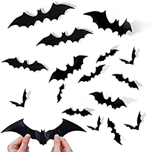 120 Pcs 3D Bats Stickers, Halloween Party Supplies Waterproof Scary Bats Wall Decor DIY Home Window Decor, Removable Bats Stickers for Indoor Outdoor Halloween Wall Decorations