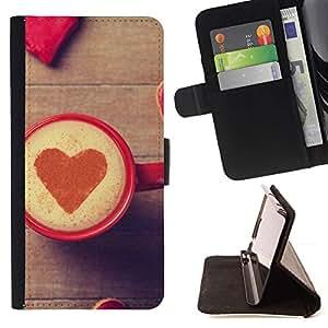 Momo Phone Case / Flip Funda de Cuero Case Cover - Corazón del amor del café;;;;;;;; - Motorola Moto E ( 1st Generation )