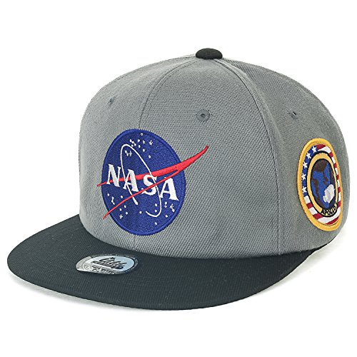 ililily NASA Meatball Logo Embroidery Baseball Cap Apollo 1 Patch Trucker Hat Dark Grey Flat