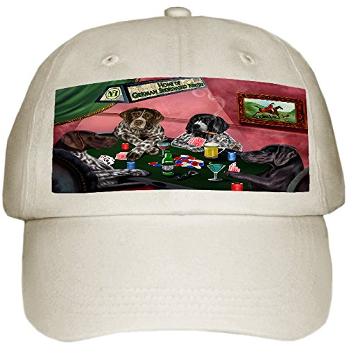 Home of German Shorthaired Pointers 4 Dogs Playing Poker Hat Off White (Pointer White Hat)