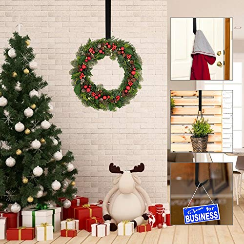 LOVEINUSA 16 inch Wreath Hanger for Front Door Christmas Decoration Metal Over The Door Single Hook, Black