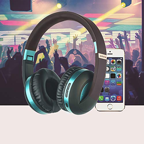 Wireless Headset with Mic,Foldable Bluetooth Headphone with 3.5mm Audio Jack for PC/iPhone/Android Smartphones Computers(Black+Blue) by YSSHUI (Image #6)
