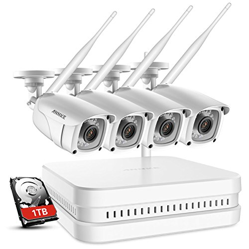 Wireless B/w Wall Clock Camera - ANNKE Wireless Security Camera System-1080P 8CH Wi-Fi NVR Video Surveillance System with 1TB HDD, 4×1080P Outdoor IP Cameras with Smart IR and 100ft Night Vision, Plug and Play System,Remote Access