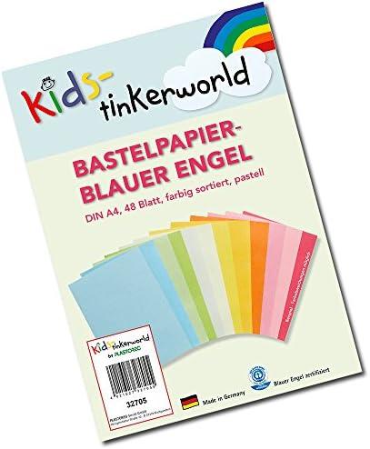 kids-tinkerworld 48 Blatt buntes Bastelpapier aus 12 verschiedenen Pastell-Farbtönen, hochwertige Qualität, Bogen durchgefärbt, Blauer Engel Zertifiziert.