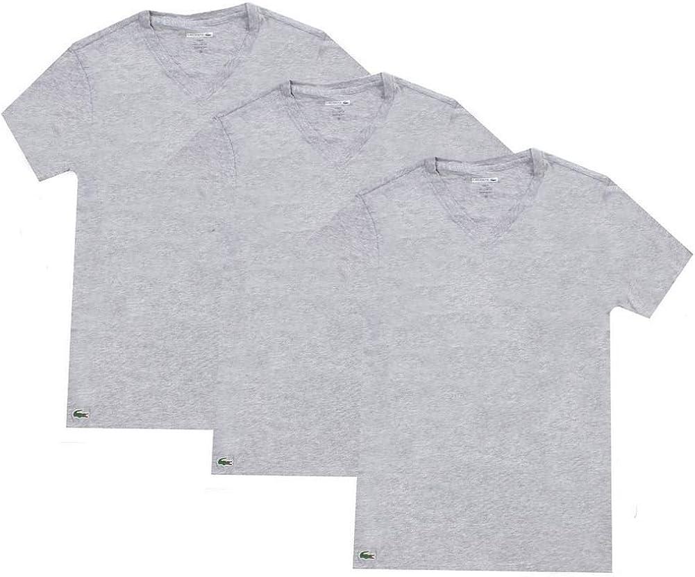 TALLA L (Gr. Large). Lacoste 3 Pack Camiseta Hombre, Essentials, Cuello Pico, Ajuste Slim, Colores Lisos - Gris