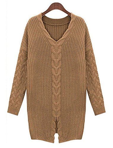 IDIFU Women's Unique Slit Long Sleeve V Neck Crochet Knit Sweater Top Camel Medium