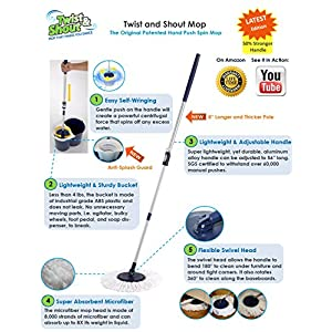 Twist and Shout Mop - The Award-winning Original Hand Push Spin Mop - Life Time Warranty (Complete System including 2 Microfiber Mopheads)