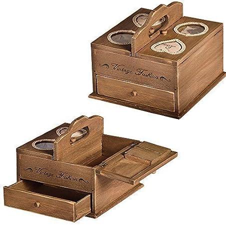 Caja de coser VINTAGE FASHION con cajón de coser costura Recuadro diseño rústico: Amazon.es: Hogar