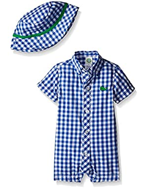 Baby Boys' Woven Romper And Hat