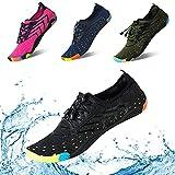 KRIMUSWomen Men Water Shoes Quick Dry Barefoot Sports Aqua Durable Outsole Shoes for Swim Walking Yoga Beach Driving Boating (Black-38)