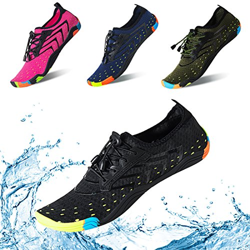 KRIMUSWomen Men Water Shoes Quick Dry Barefoot Sports Aqua Durable Outsole Shoes for Swim Walking Yoga Beach Driving Boating (Black-44)