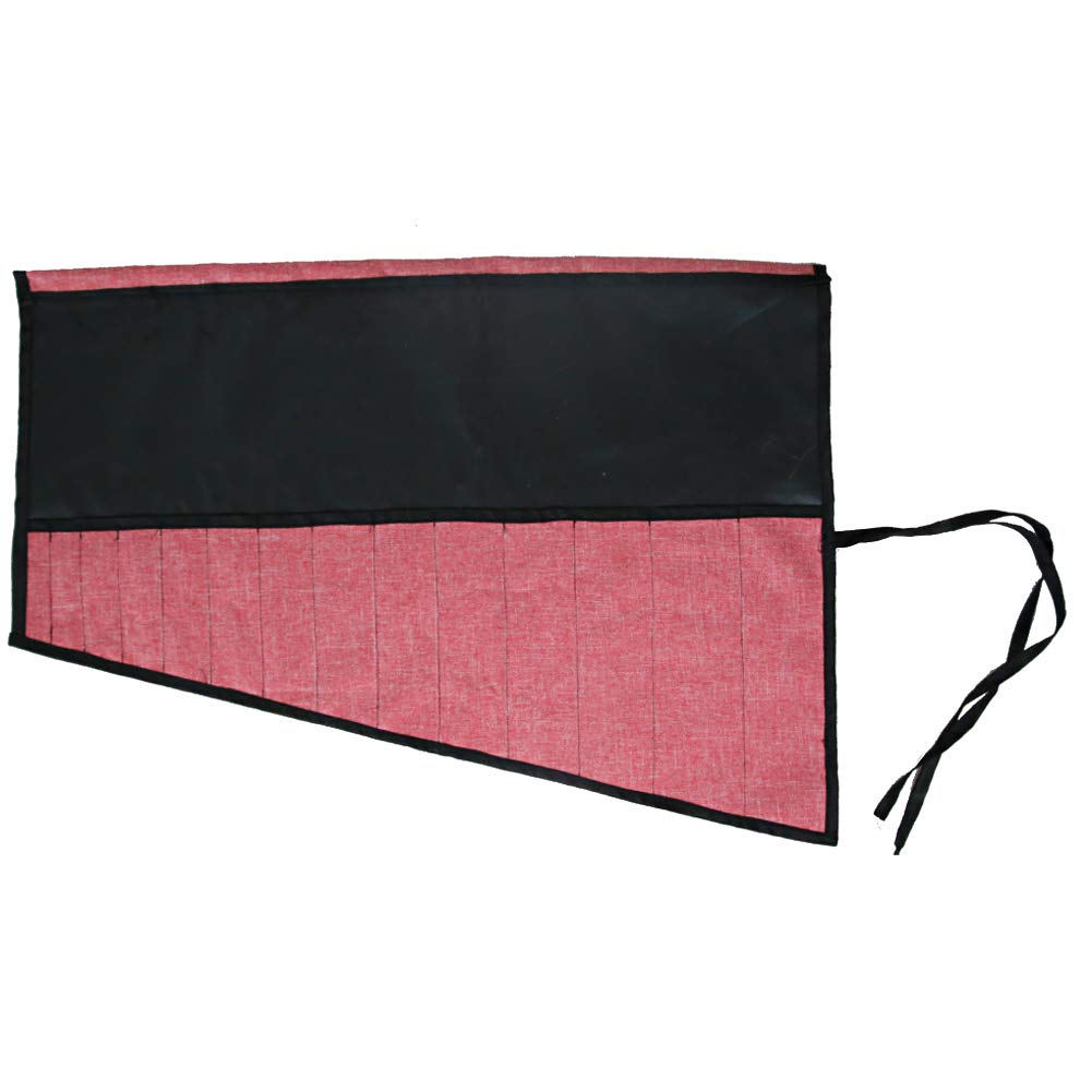 """Handmade Knife Roll Bag Holds Chef's Knives Up To 12.6"""", Professional Canvas Knife Carrier Holder With 14 Utility Pockets And Leather Cord, Best Gift For Men Women (Pink)"""