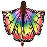 GRACIN Halloween Butterfly Wings Shawl Soft Fabric Fairy Pixie Costume Accessory (65'x54', Choker Ties, Multicolor)