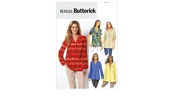 en ingl/és, alem/án y franc/és Patr/ón de Costura para Confeccionar Blusa de Mujer Butterick B5826 4 Modelos Diferentes