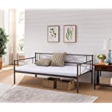 Kings Brand Ewen Pewter Metal Twin Size Daybed Frame with Metal Slats Support